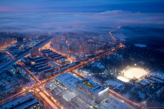 Moscow covered by low clouds, Russia, photo 8