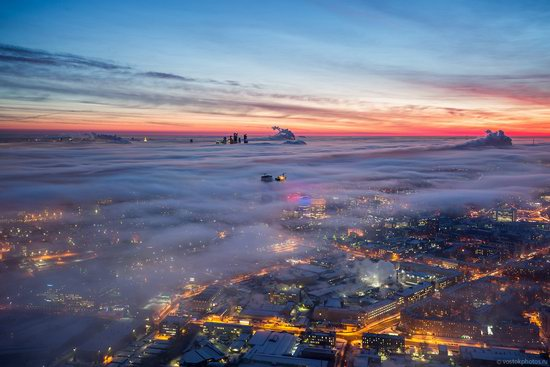 Moscow covered by low clouds, Russia, photo 9