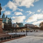 Walk through the streets of Smolensk in winter