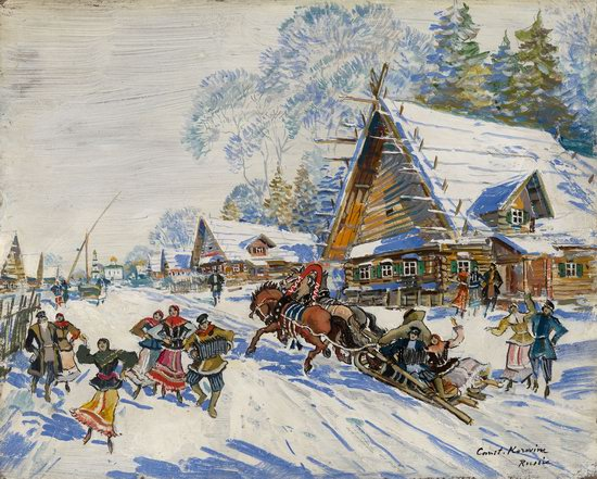 Constantin Korovin. Russian village in winter