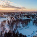 Evening in snow-covered Yaroslavl