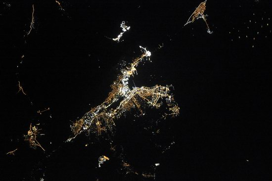 Cities of Russia at Night from Space - Novorossiysk