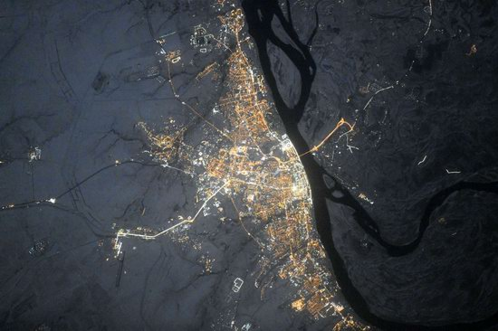 Cities of Russia at Night from Space - Volgograd