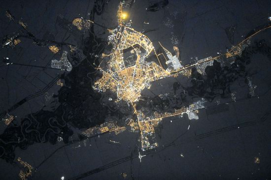 Cities of Russia at Night from Space - Orenburg