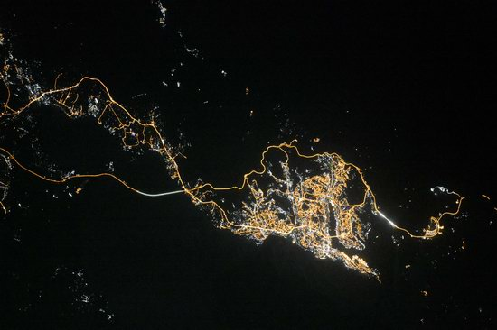 Cities of Russia at Night from Space - Vladivostok