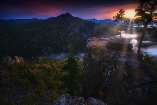 Colorful Dawn on the Top of the Aygir Cliffs, Bashkiria, Russia, photo 2