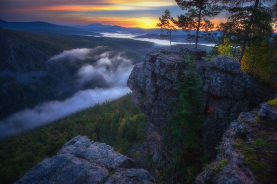 Colorful Dawn on the Top of the Aygir Cliffs, Bashkiria, Russia, photo 8
