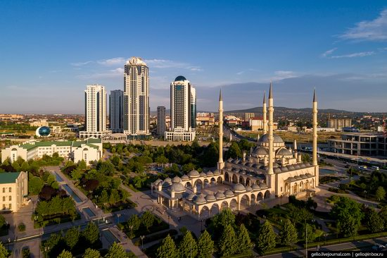 The rebuilt center of Grozny from above, Russia, photo 1