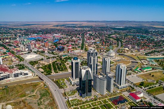 The rebuilt center of Grozny from above, Russia, photo 2