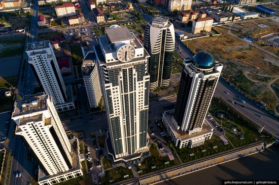 The rebuilt center of Grozny from above, Russia, photo 5