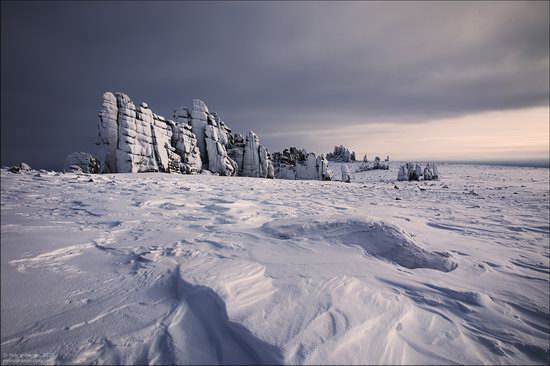 Snow Covered Stone Pillars of Ulakhan-Sis, Yakutia, Russia, photo 1