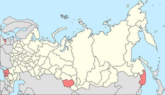 Map of gambling zones in Russia
