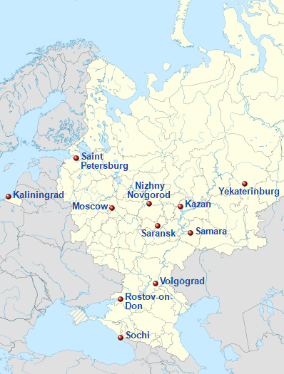 World Cup In Russia - Map of russia with cities