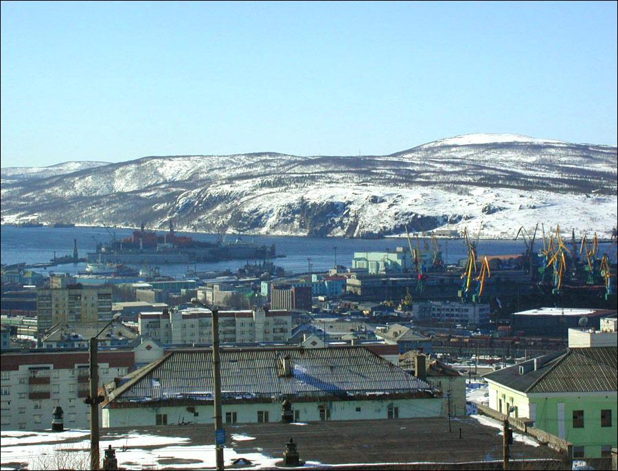 Murmansk city, Russia sea port view