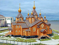 Wooden Holy Trinity Cathedral in Anadyr