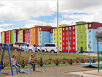 Bright colors of Anadyr buildings