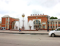 Station Square with a fountain in Birobidzhan