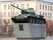 Tank T-34-85 at the intersection of Babushkina and Gorky streets in Chita