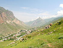 Small settlement in a mountain gorge in Kabardino-Balkaria