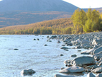 The river at the foot of the volcano on Kamchatka