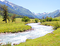 Rapid mountain stream in Karachay-Cherkessia
