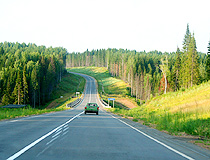 Road through the forest in the Kirov region