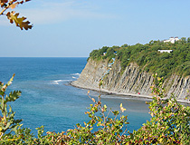Steep cliffs on the coast in the Krasnodar region