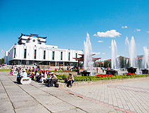 Tuvan Music and Drama Theater on the central square of Kyzyl