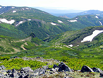 Hilly terrain of the Magadan region