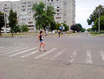 At the pedestrian crossing in Maykop