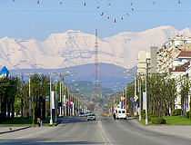 Lenin Street, the TV tower, and a mountain range in Nalchik