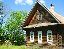 Wooden house in a village in Nizhegorodskaya oblast