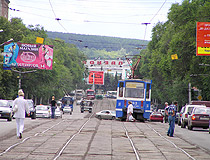 Tram tracks leading to Novokuznetsk train station