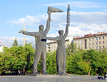 The monument to peasants in Novosibirsk