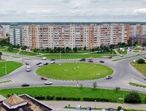 Roundabout and apartment buildings in Obninsk