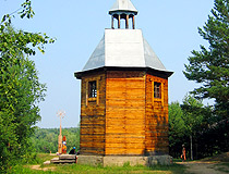 Wooden chapel in Omsk oblast