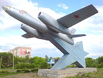 The monument to the aviators of all generations (IL-28) in Orsk