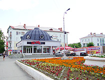 Flower bed on the street in Orsk