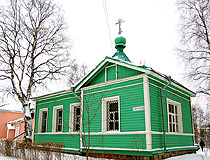 Wooden church in honor of the Holy Spirit in the historic part of Petrozavodsk