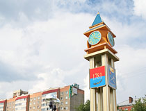 The clock tower in the center of Podolsk