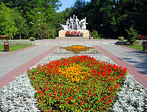 Flower beds and the monument to Soviet soldiers of the Second World War in Rostov-on-Don