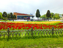 Tulips and a fountain in front of the concert hall Moskva in Ryazan