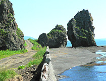Rocks on the coast in Sakhalinskaya oblast