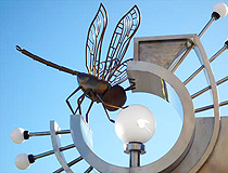 Street lamp with a dragonfly in Salekhard