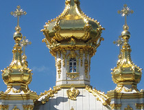 Domes of the church of the Big Palace in Peterhof