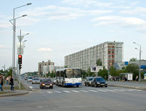 Crosswalk and apartment buildings in Tobolsk