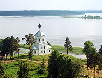 Picturesque church on the river bank in the Tver region