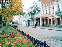 Vladikavkaz tram and old architecture