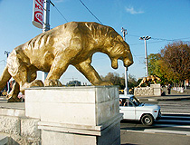 The lions on the bridge in Vladikavkaz