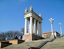 Colonnade and stairs on the central quay of Volgograd